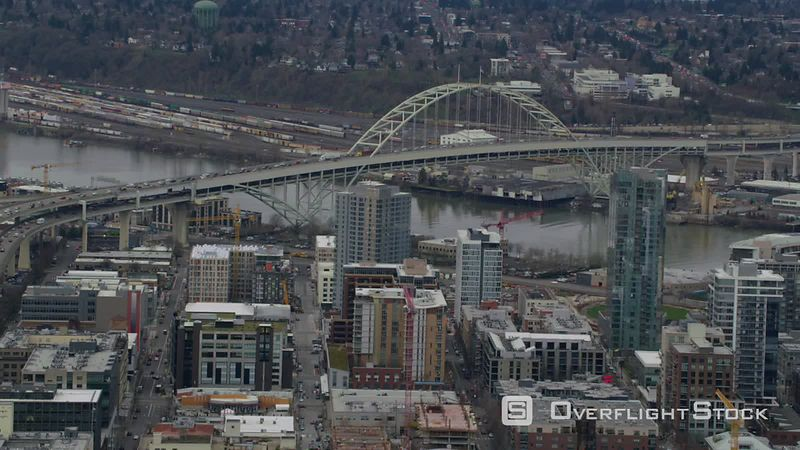 Aerial view of downtown Portland, Oregon and Fremont Bridge