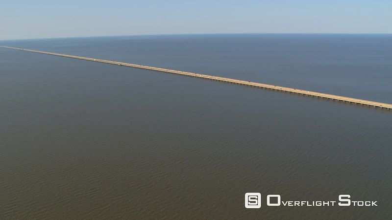 Aerial view of Lake Pontchartrain Causeway in New Orleans