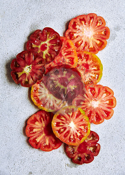 Slices of Heirloom tomotoes