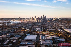 Aerial of Seattle port and downtown skyline, USA