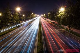 Traffic in a road of Beijing, at night