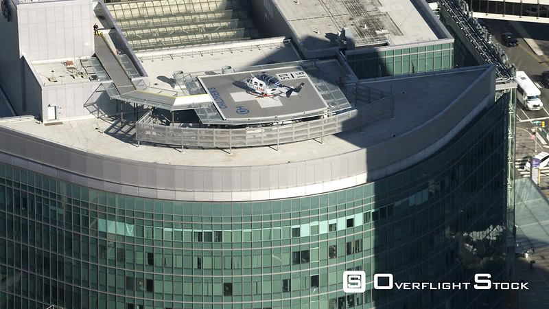 Aerial View of a Helicopter on the Helicopter Pad at Children's Hospital of Philadelphia.