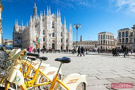 Public sharing bicycles in Duomo square, Milan, Italy