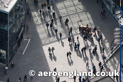 aerial photograph of the Bull in the Bull Ring Shopping Centre Birmingham UK