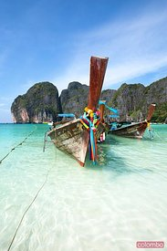 Long tail boats at Maya beach, Ko phi phi, Thailand