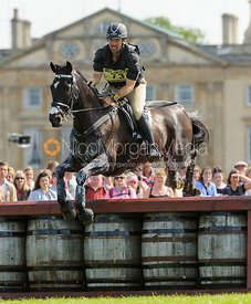 Murray Lamperd and UNDER THE CLOCKS - Cross Country - Mitsubishi Motors Badminton Horse Trials 2013.