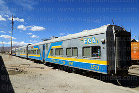 Carriages of the FCA Expreso del Sur passenger service in Uyuni station, Bolivia