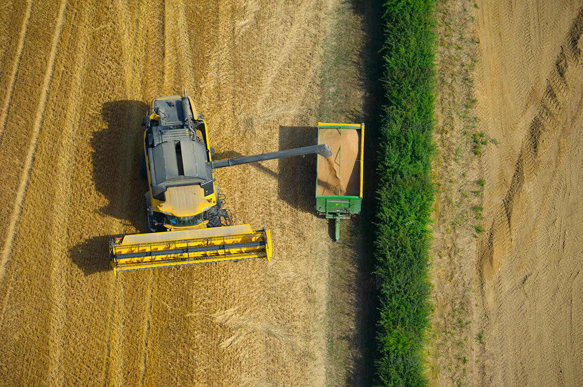Aerial view of a combine harvester