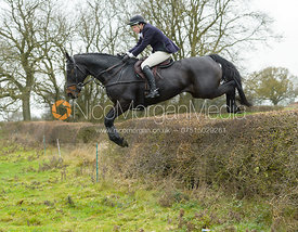 Meghan Healy jumping a hedge by Wilson's  - The Cottesmore at The Fox and Hounds