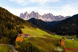 Aerial view of Funes valley in autumn, Dolomites, Italy
