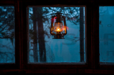 Oil Lamp gives light to old sauna