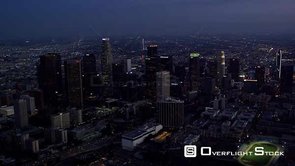 NIGHT AERIAL VIEW OF DOWNTOWN LOS ANGELES (DTLA) LOOKING SOUTH AND EAST, RED R3D 4K