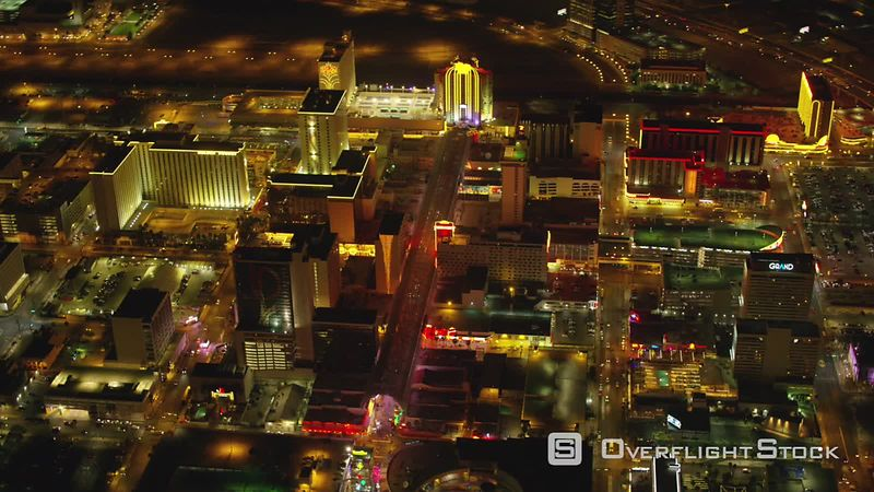 Las Vegas, Nevada Aerial view of downtown Freemont Street Las Vegas at night.  Shot with Cineflex and RED EpicW Helium.