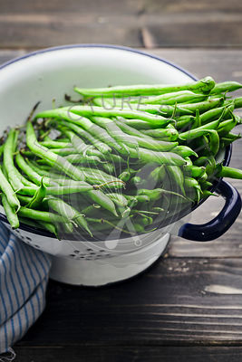 French Beans in an enamel colander
