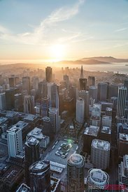 Aerial of  San Francisco city at sunset, USA