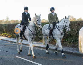 Ros Rowley, Jodie Parr leaving the meet - The Cottesmore Hunt at Pickwell Manor 28/12