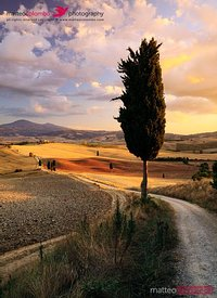 Sunset over Val d'Orcia, Tuscany, Italy
