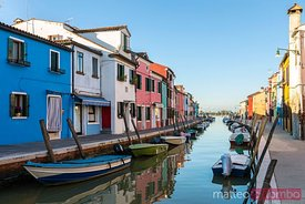 Colourful houses near canal, Burano, Venice