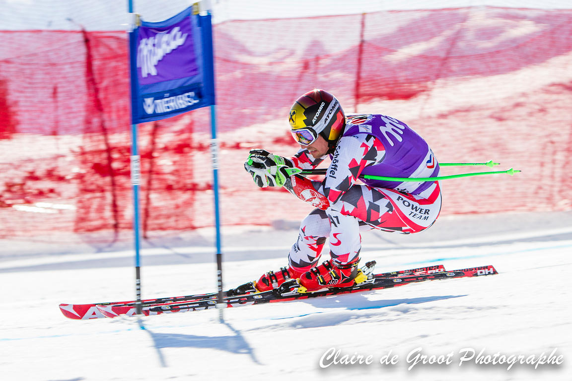 Austrian Marcel Hirscher approaching a gate in the Super G finals.