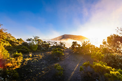 First sunlights of the day over Dolomieu crater at Reunion Island