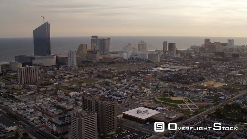 Flying over Atlantic City, New Jersey, looking seaward. Shot in November