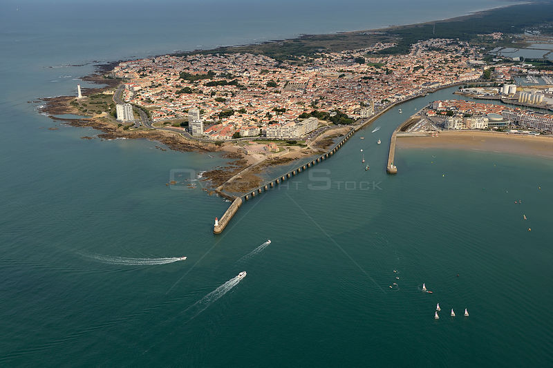 Aerial view of the harbour entrance at Les Sables d'Olonne, Vendée, France, July 2017.