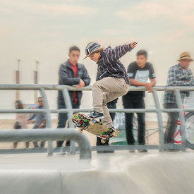 action photography of a skateboarder at Venice Beach CA Skate Park