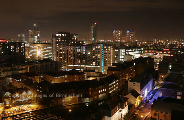 View from Quayside office building on Broad Street, Birmingham, UK. Cityscape aerial.
