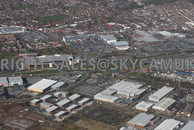 Widnes aerial photograph looking across Turnstone Business Park looking across Earle road and Dennis Road towards Ashley Way and the town centre