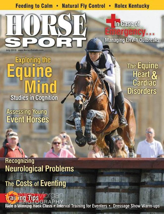 Horse Sport front cover, July 2013, featuring Rebecca Howard and Riddle Master