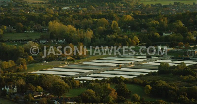 London Aerial Footage of Water Treatment Plant.