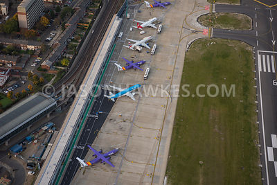 Aerial View Of East London Aeroplanes At City Airport