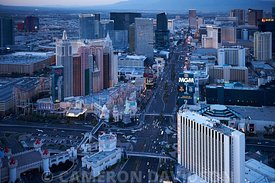 Aerial photograph of Las Vegas at night.