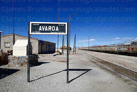 Avaroa station sign and freight train, Nor Lípez Province, Bolivia