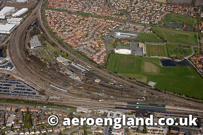 aerial photograph of the Didcot Railway Centre tourist attraction in  Oxfordshire England UK