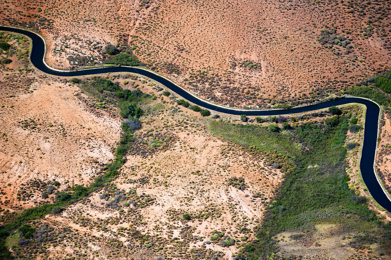 Aerial photograph of the Olifants River and the intensive irrigation / canal system used along its course, a threat to the endemic fish species found here.