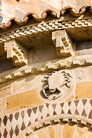Zodiac signs on chevet of Saint Austremoine abbay church, Issoire
