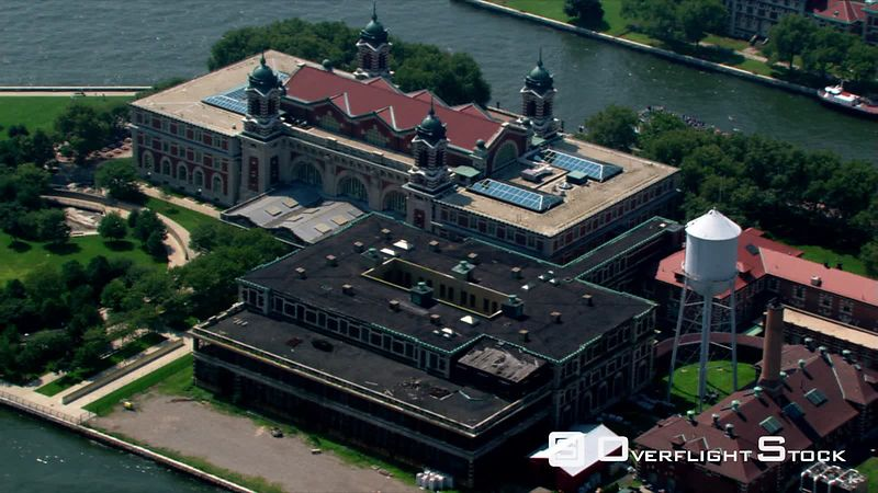 Flying over Ellis Island in New York City.