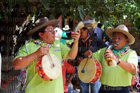Erquero musicians playing erke (horn) and caja (drum), Canasmoro, Tarija Department, Bolivia