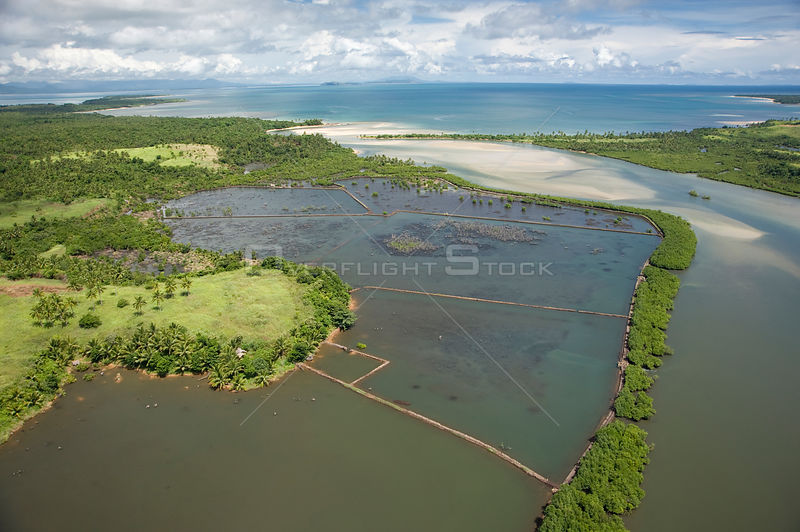 Aerial view of river mouth, coast and fish / shrimp farm, Camarines Sur, Pacific Coast, Luzon, Philippines fish or shrimp farm 2008