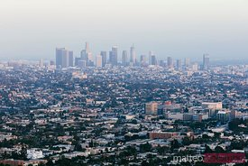 Elevated view of Los Angeles downtown and suburbs