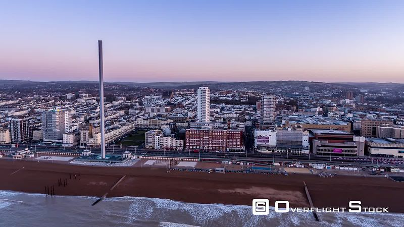 Aerial view of Brighton, during sunrise, United Kingdom - filmed by drone