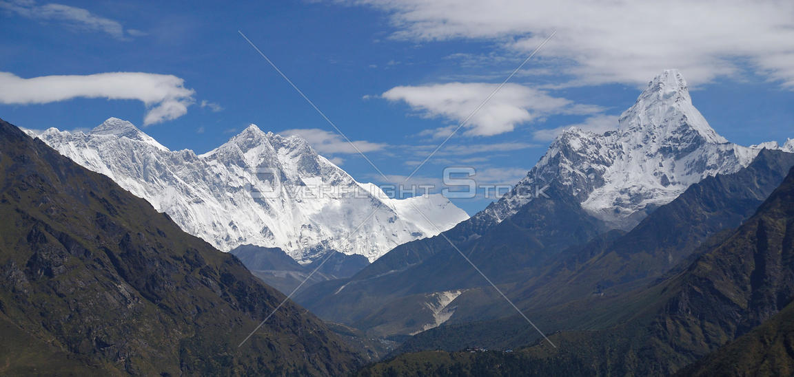 NEPAL Everest Region -- Panorama showing Mount Everest (left), Mount Lhotse, Mount Lhotse Shar (centre left) and Mount Ama Dablam