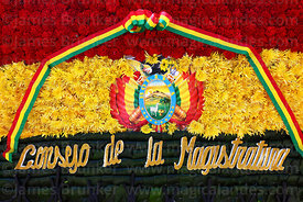 Detail of floral tribute in colours of the Bolivian national flag from the Counsel of Magistrates,  Dia del Mar / Day of the Sea, La Paz, Bolivia