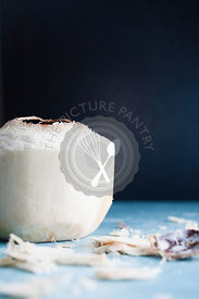Fresh coconut with dark background