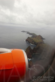 Cliffs and sea seen from plane