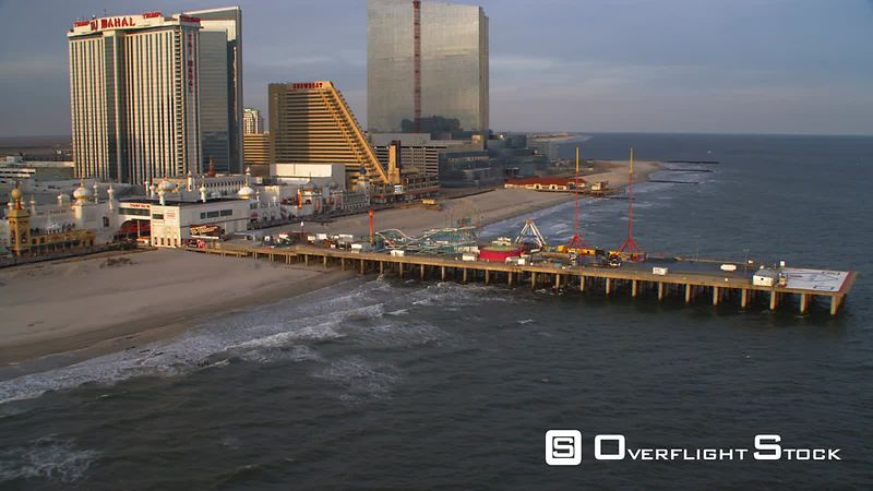 Aerial view of Atlantic City boardwalk by Trump Taj Mahal.