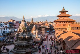 Ancient royal city of Patan at sunset, Nepal