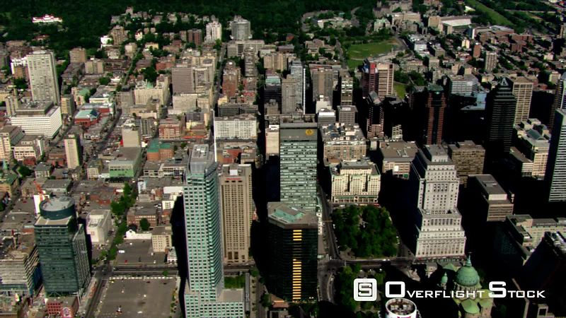 Flying over downtown Montreal, Quebec.