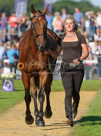 Kristina Cook and DE NOVO NEWS - The final trot up, Burghley Horse Trials 2013.